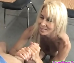 Mature teacher covered with cum by student