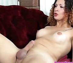 Masturbating tgirl toys ass and jerks cock