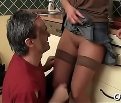 Juicy playgirl fucks old dude