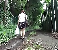 Rubbing on her clit in the middle of the road with integrity