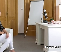 Lesbian female agent and blonde licking