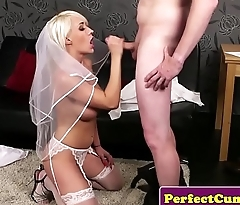 Busty British bride face covered in spunk POV