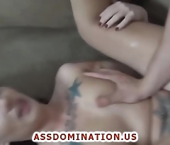 Tattooed Teen Gets Fucked In Her Asshole And Creampied