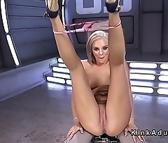Intense squirting on fucking machine for blonde