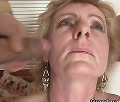 Two delivery men bang old lady