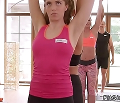 Blonde sucks cock to her yoga coach