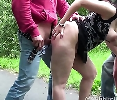 2 guys fuck 2 ugly girls on a public street in a risky gang bang orgy