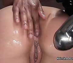 Ebony boss anal toys her colleague