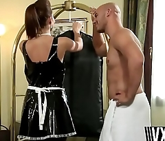 Russian maid Cindy Dollar stripping latex outfit for long thick cock hotel guest