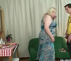 Fat mother-in-law rides his cheating cock