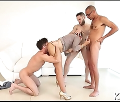 Tgirl jerks off and rides