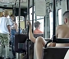 Extreme public sex in a city bus with all the passenger watching the couple fuck