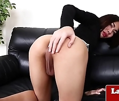 Asian shemale jerks her hard cock