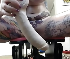 Busty Tattooed Babe Riding A Huge Dildo In Her Ass 3