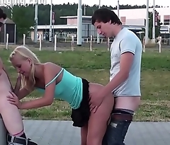 Extreme public street sex threesome with blonde cute teen girl and 2 young guys