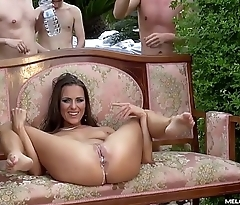 Melonechallenge Mea Melone &amp_ Wendy Moon fuck spanish guys in big orgy outdoors