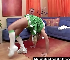 HumiliatedSchoolGirls - She spreads so well that her coach'_s cock rises