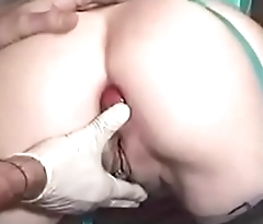 Two apples inside ass of submissive wife. Amateur extreme