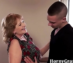 Mature granny sucking rod