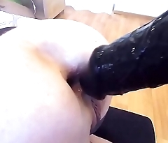 Fetish blonde playing with huge dildos and big cock