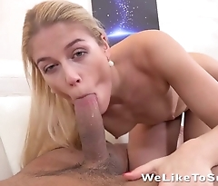 Blonde worships BF's hard bulge using mouth and hands