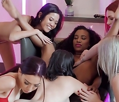 Young lezzies enjoy hot pussy-licking in wild orgy