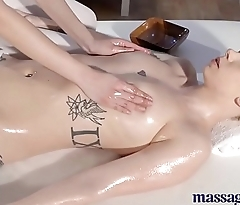 Massage Rooms Big tits lesbians pleasure their hot oily bodies