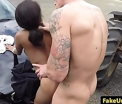 Busty ebony cop spitroasted outdoors