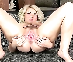 Busty blonde Barbora gaping her pussy