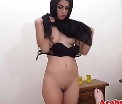 Forbidden arab babe bouncing booty on cock